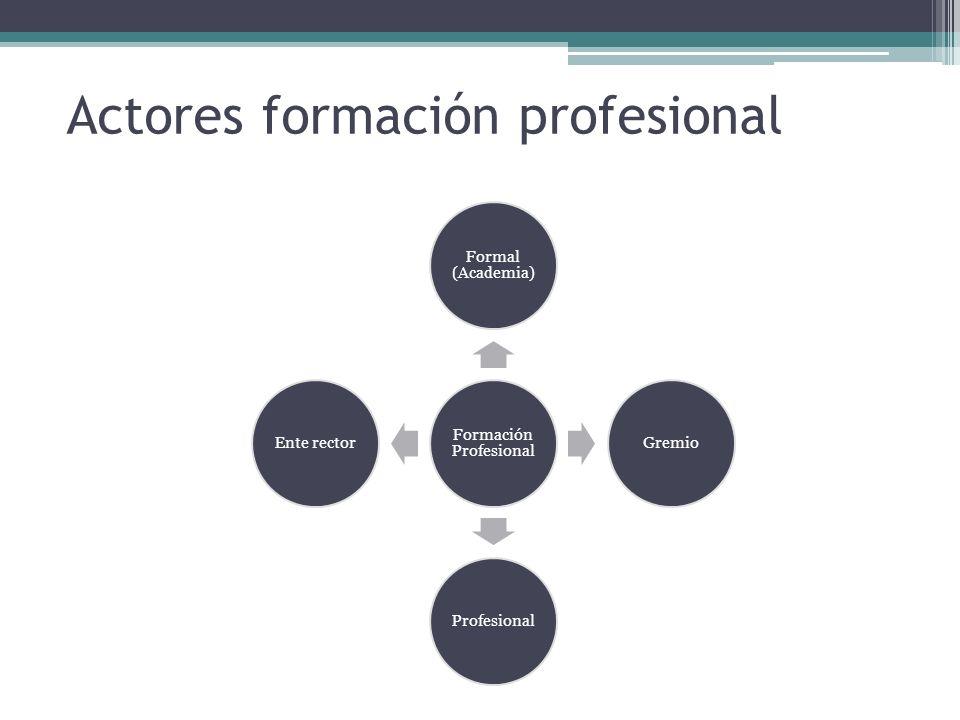 Actores formación profesional Formación Profesional Formal (Academia) GremioProfesionalEnte rector
