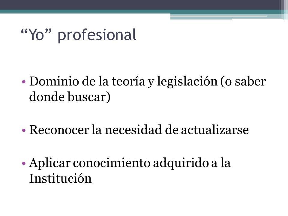 Yo profesional Dominio de la teoría y legislación (o saber donde buscar) Reconocer la necesidad de actualizarse Aplicar conocimiento adquirido a la Institución