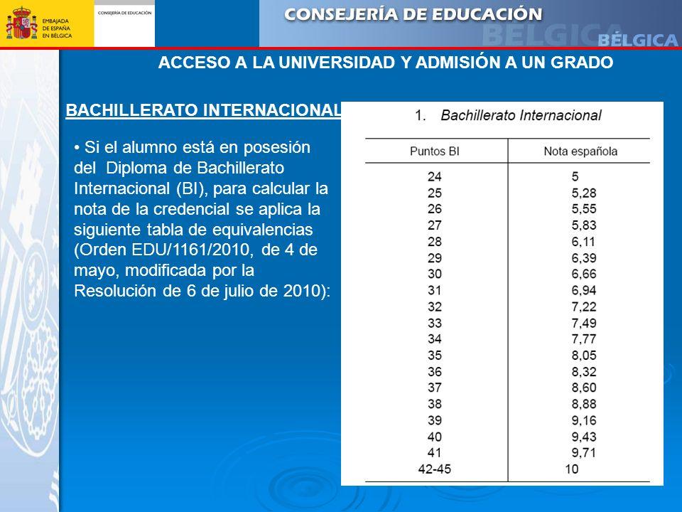 BACHILLERATO INTERNACIONAL Si el alumno está en posesión del Diploma de Bachillerato Internacional (BI), para calcular la nota de la credencial se apl