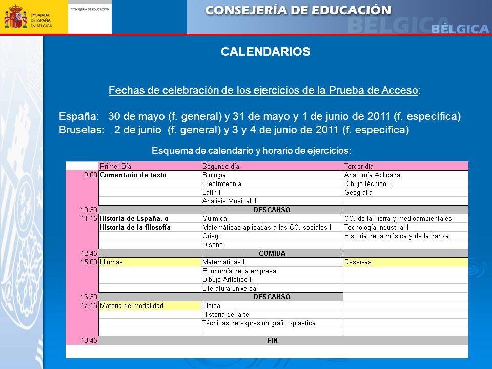 CALENDARIOS Fechas de celebración de los ejercicios de la Prueba de Acceso: España:30 de mayo (f. general) y 31 de mayo y 1 de junio de 2011 (f. espec