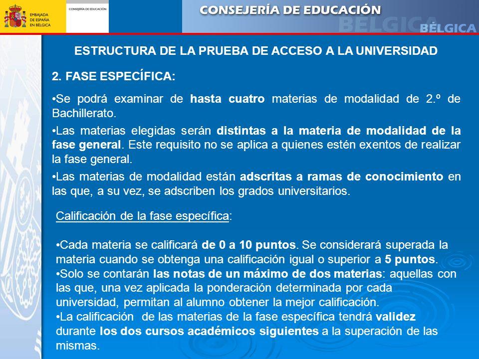 ESTRUCTURA DE LA PRUEBA DE ACCESO A LA UNIVERSIDAD 2. FASE ESPECÍFICA: Se podrá examinar de hasta cuatro materias de modalidad de 2.º de Bachillerato.