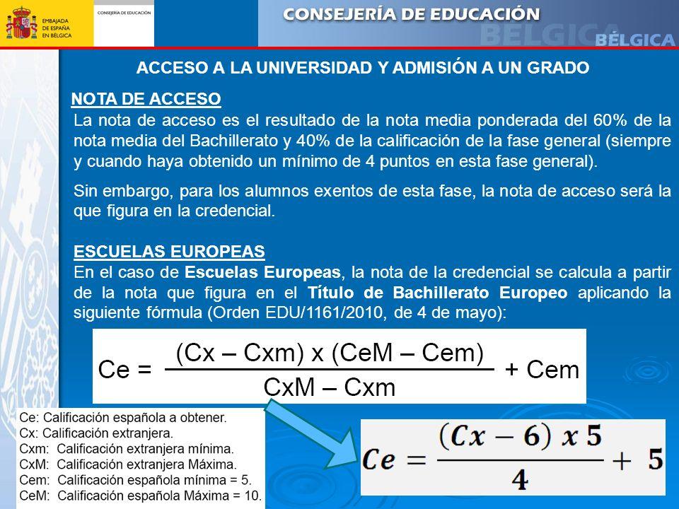 NOTA DE ACCESO La nota de acceso es el resultado de la nota media ponderada del 60% de la nota media del Bachillerato y 40% de la calificación de la f
