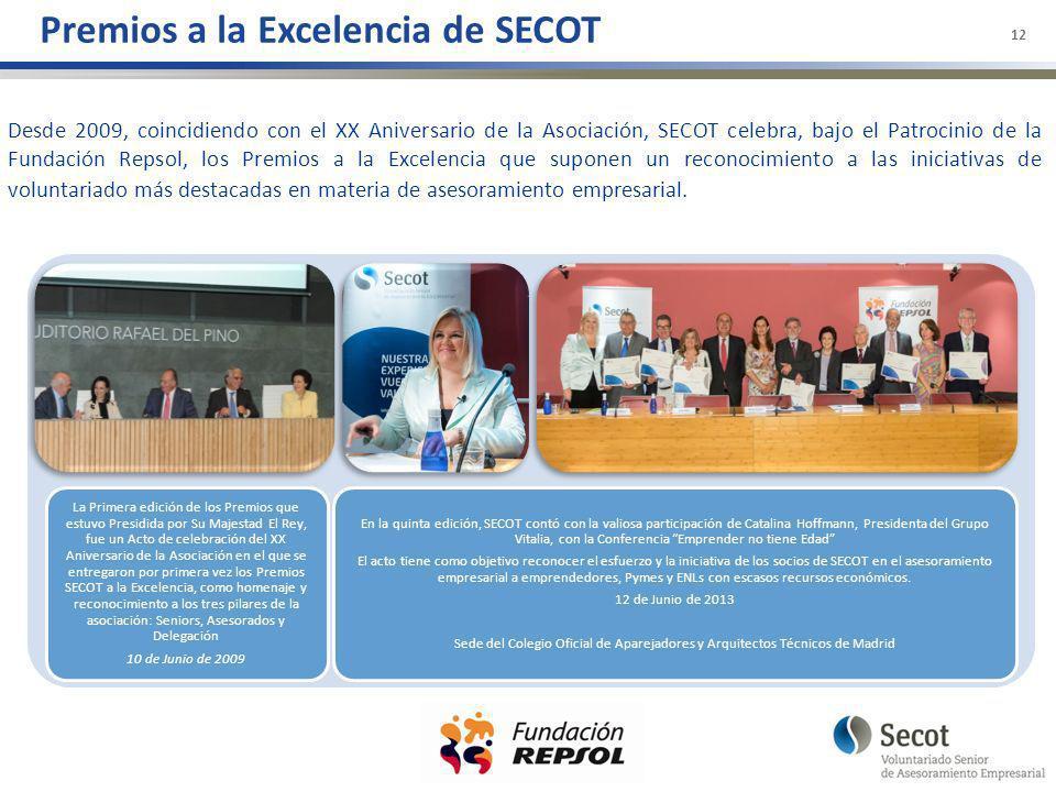 Premios a la Excelencia de SECOT 12 Desde 2009, coincidiendo con el XX Aniversario de la Asociación, SECOT celebra, bajo el Patrocinio de la Fundación Repsol, los Premios a la Excelencia que suponen un reconocimiento a las iniciativas de voluntariado más destacadas en materia de asesoramiento empresarial.