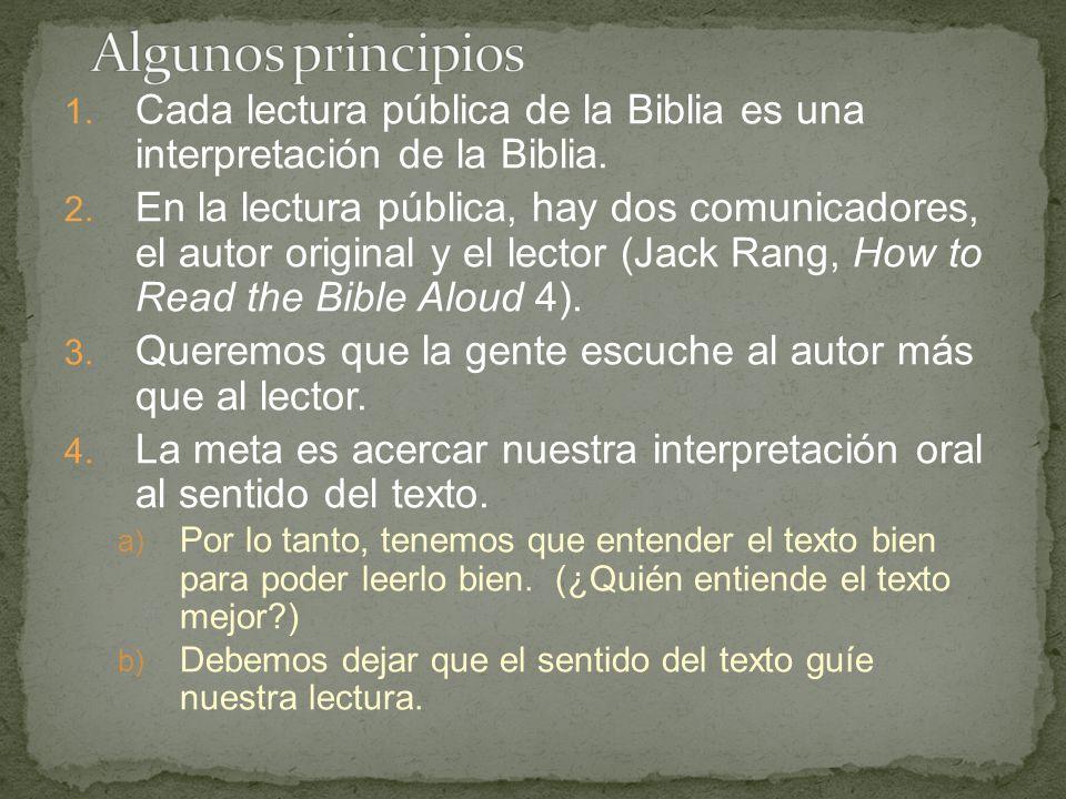 1. Cada lectura pública de la Biblia es una interpretación de la Biblia.