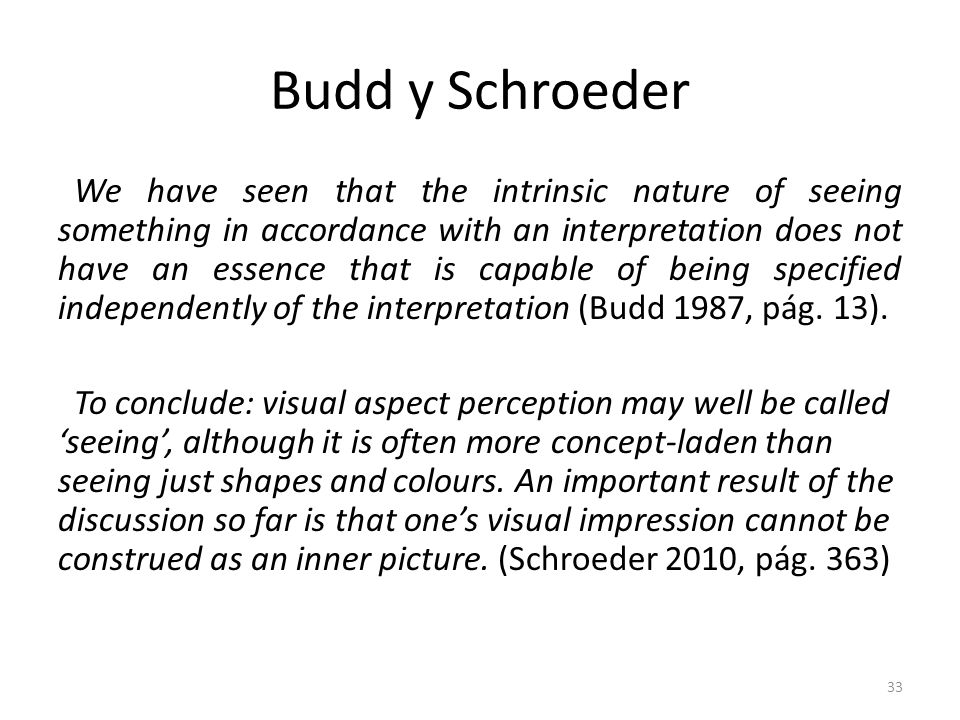 Budd y Schroeder We have seen that the intrinsic nature of seeing something in accordance with an interpretation does not have an essence that is capa