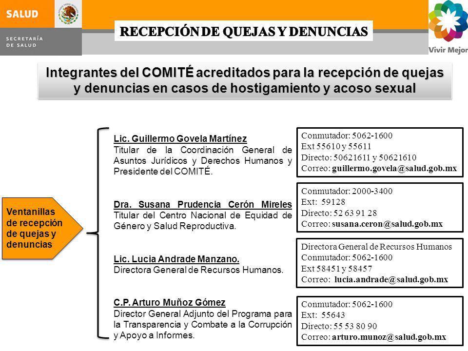 Integrantes del COMITÉ acreditados para la recepción de quejas y denuncias en casos de hostigamiento y acoso sexual Ventanillas de recepción de quejas