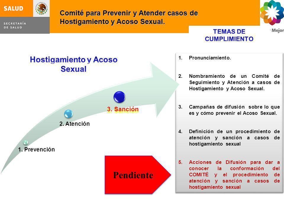 Comité para Prevenir y Atender casos de Hostigamiento y Acoso Sexual. 1.Pronunciamiento. 2.Nombramiento de un Comité de Seguimiento y Atención a casos