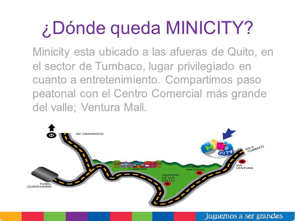 ¿Dónde queda MINICITY? Minicity esta ubicado a las afueras de Quito, en el sector de Tumbaco, lugar privilegiado en cuanto a entretenimiento. Comparti