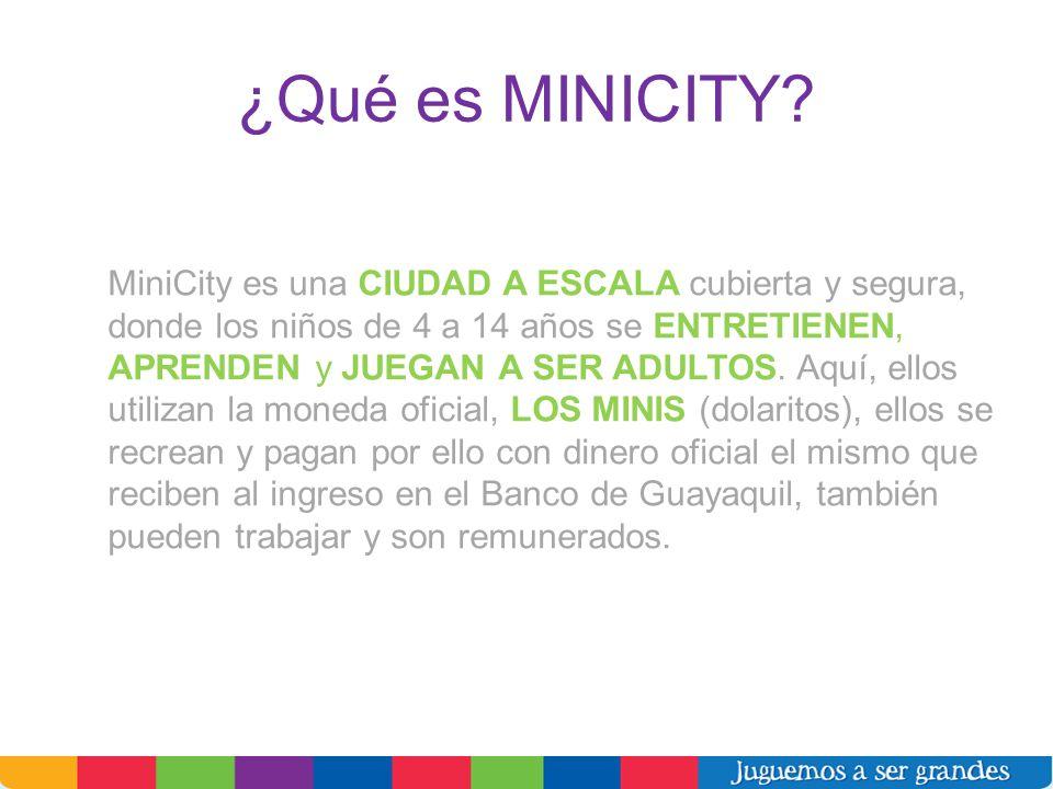 ¿Qué es MINICITY? MiniCity es una CIUDAD A ESCALA cubierta y segura, donde los niños de 4 a 14 años se ENTRETIENEN, APRENDEN y JUEGAN A SER ADULTOS. A