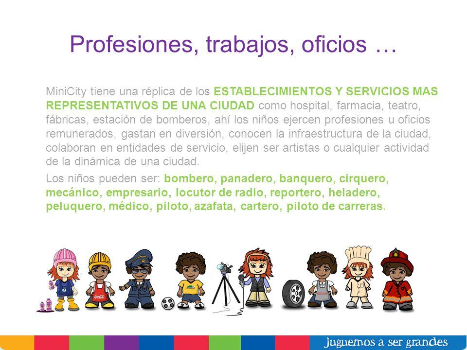 Profesiones, trabajos, oficios … MiniCity tiene una réplica de los ESTABLECIMIENTOS Y SERVICIOS MAS REPRESENTATIVOS DE UNA CIUDAD como hospital, farma