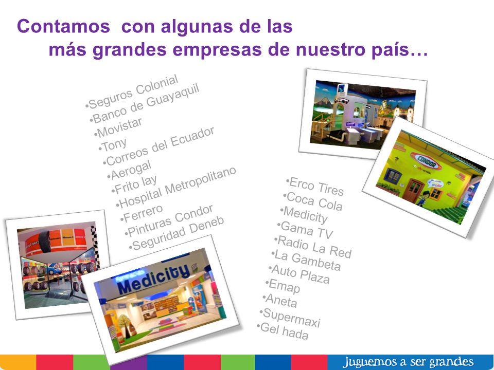 Contamos con algunas de las más grandes empresas de nuestro país… Seguros Colonial Banco de Guayaquil Movistar Tony Correos del Ecuador Aerogal Frito