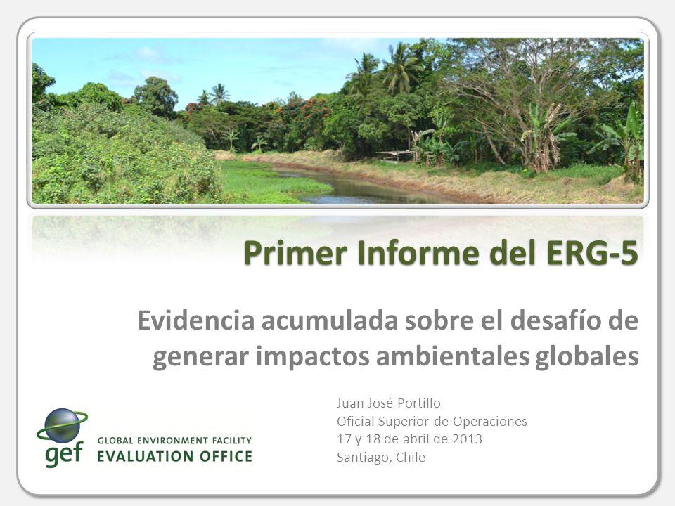 Panorama General Todas las reposiciones han sido informadas sobre los resultados globales a través de estudios independientes Desde ERG-4, estos estudios son llevados a cabo por la Oficina de Evaluación independiente del FMAM Los términos de referencia y el presupuesto para el ERG-5 fueron aprobados por el Consejo del FMAM en junio de 2012 El informe está dividido en: un primer informe en el inicio del proceso de reposición de fondos y un informe final en la tercera reunión El primer informe es una actualización del ERG-4 a través de un meta- evaluación de la evidencia acumulada en los tres años desde el ERG-4