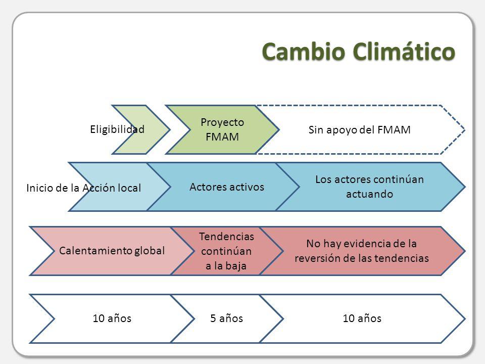 Cambio Climático 10 años Tendencias continúan a la baja Proyecto FMAM Actores activos No hay evidencia de la reversión de las tendencias Sin apoyo del FMAM Los actores continúan actuando Calentamiento global 5 años10 años Eligibilidad Inicio de la Acción local