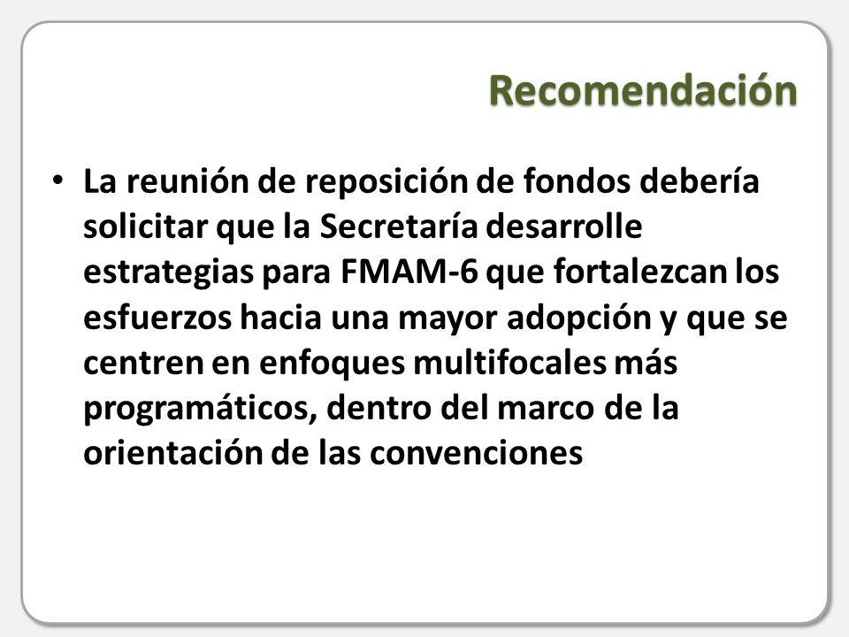 Recomendación La reunión de reposición de fondos debería solicitar que la Secretaría desarrolle estrategias para FMAM-6 que fortalezcan los esfuerzos hacia una mayor adopción y que se centren en enfoques multifocales más programáticos, dentro del marco de la orientación de las convenciones