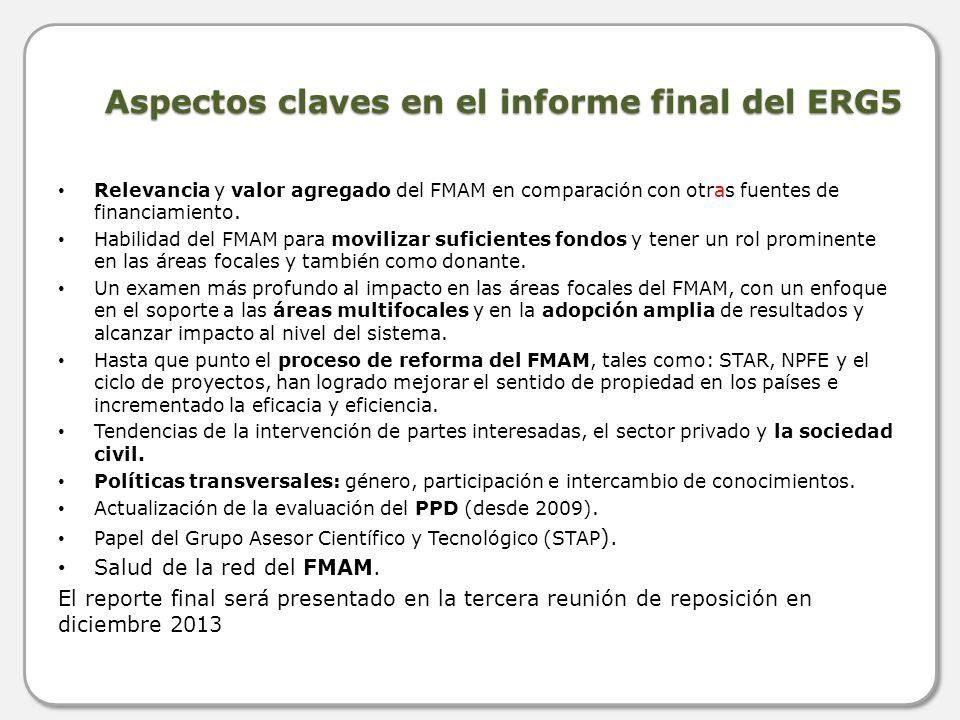 Aspectos claves en el informe final del ERG5 Relevancia y valor agregado del FMAM en comparación con otras fuentes de financiamiento. Habilidad del FM