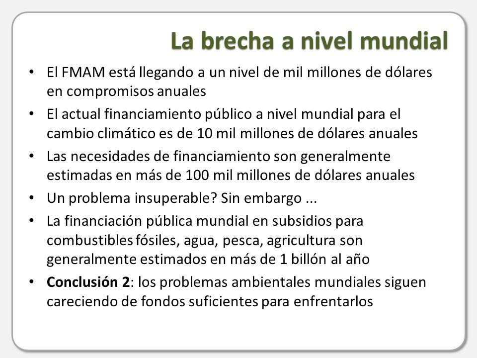 Financiamiento público disponible a nivel mundial> $ 10 mil millones Gasto público en el mal uso de recursos naturales > $ 1 billón Fondos públicos necesitados a nivel mundial> $ 100 mil millones