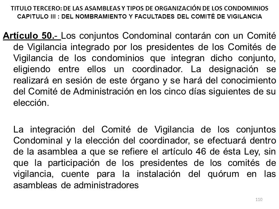 TITULO TERCERO: DE LAS ASAMBLEAS Y TIPOS DE ORGANIZACIÓN DE LOS CONDOMINIOS CAPITULO III : DEL NOMBRAMIENTO Y FACULTADES DEL COMITÉ DE VIGILANCIA Artí