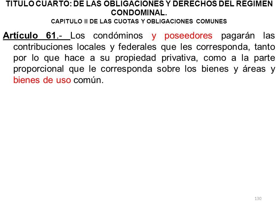 TITULO CUARTO: DE LAS OBLIGACIONES Y DERECHOS DEL RÉGIMEN CONDOMINAL. CAPITULO II DE LAS CUOTAS Y OBLIGACIONES COMUNES Artículo 61.- Los condóminos y