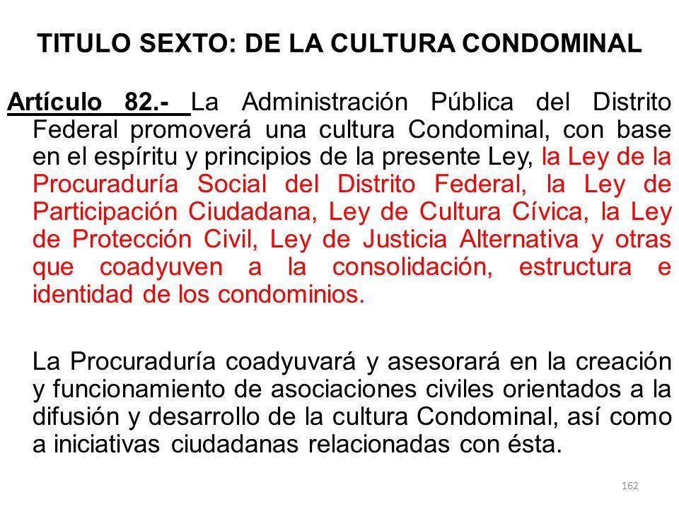 TITULO SEXTO: DE LA CULTURA CONDOMINAL Artículo 82.- La Administración Pública del Distrito Federal promoverá una cultura Condominal, con base en el e