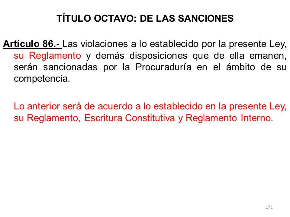 TÍTULO OCTAVO: DE LAS SANCIONES Artículo 86.- Las violaciones a lo establecido por la presente Ley, su Reglamento y demás disposiciones que de ella em