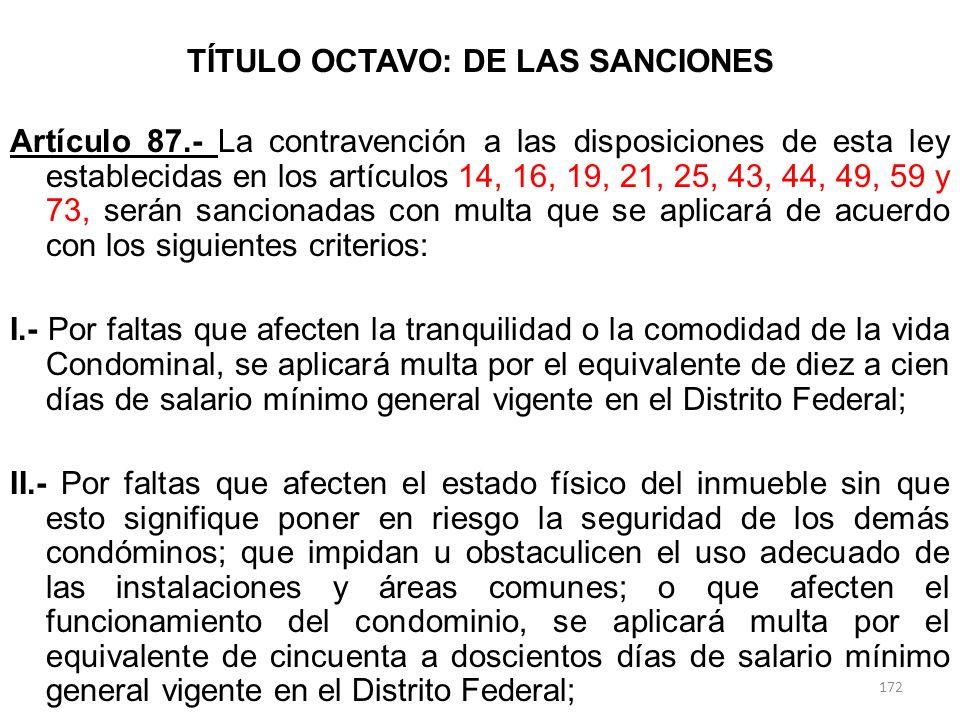 TÍTULO OCTAVO: DE LAS SANCIONES Artículo 87.- La contravención a las disposiciones de esta ley establecidas en los artículos 14, 16, 19, 21, 25, 43, 4