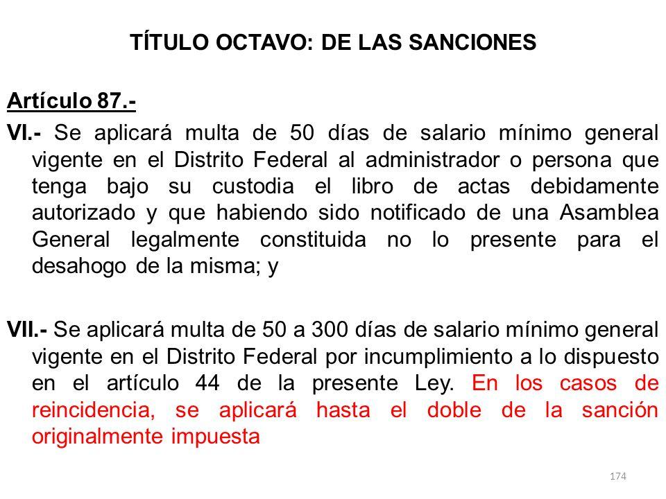 TÍTULO OCTAVO: DE LAS SANCIONES Artículo 87.- VI.- Se aplicará multa de 50 días de salario mínimo general vigente en el Distrito Federal al administra
