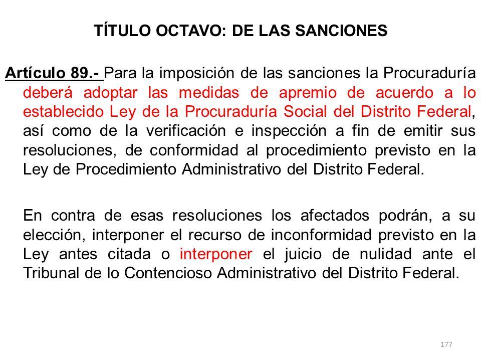 TÍTULO OCTAVO: DE LAS SANCIONES Artículo 89.- Para la imposición de las sanciones la Procuraduría deberá adoptar las medidas de apremio de acuerdo a l