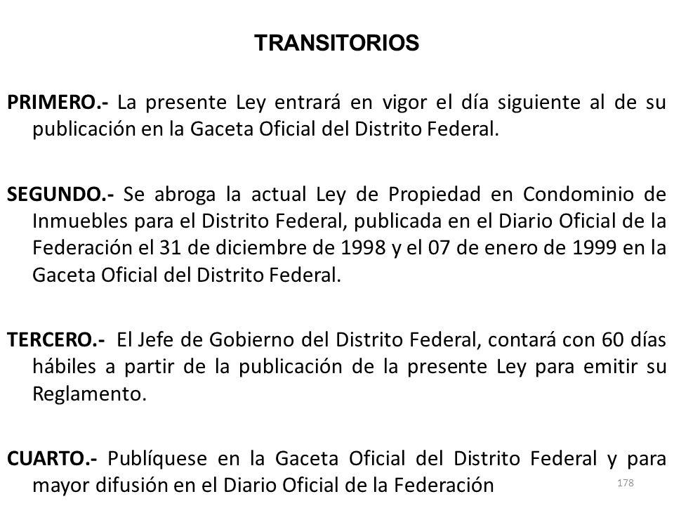 TRANSITORIOS PRIMERO.- La presente Ley entrará en vigor el día siguiente al de su publicación en la Gaceta Oficial del Distrito Federal. SEGUNDO.- Se