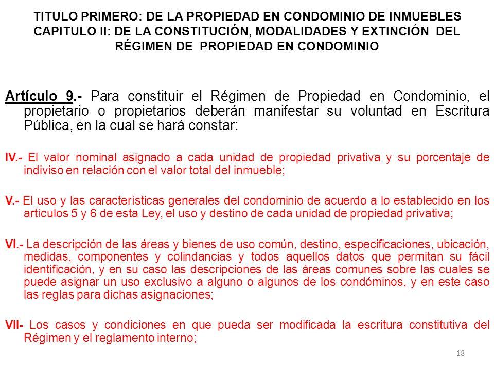 TITULO PRIMERO: DE LA PROPIEDAD EN CONDOMINIO DE INMUEBLES CAPITULO II: DE LA CONSTITUCIÓN, MODALIDADES Y EXTINCIÓN DEL RÉGIMEN DE PROPIEDAD EN CONDOM