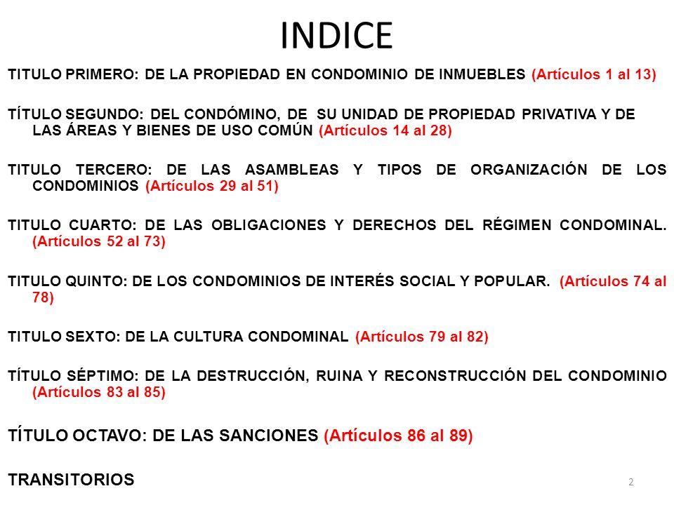 INDICE TITULO PRIMERO: DE LA PROPIEDAD EN CONDOMINIO DE INMUEBLES (Artículos 1 al 13) TÍTULO SEGUNDO: DEL CONDÓMINO, DE SU UNIDAD DE PROPIEDAD PRIVATI