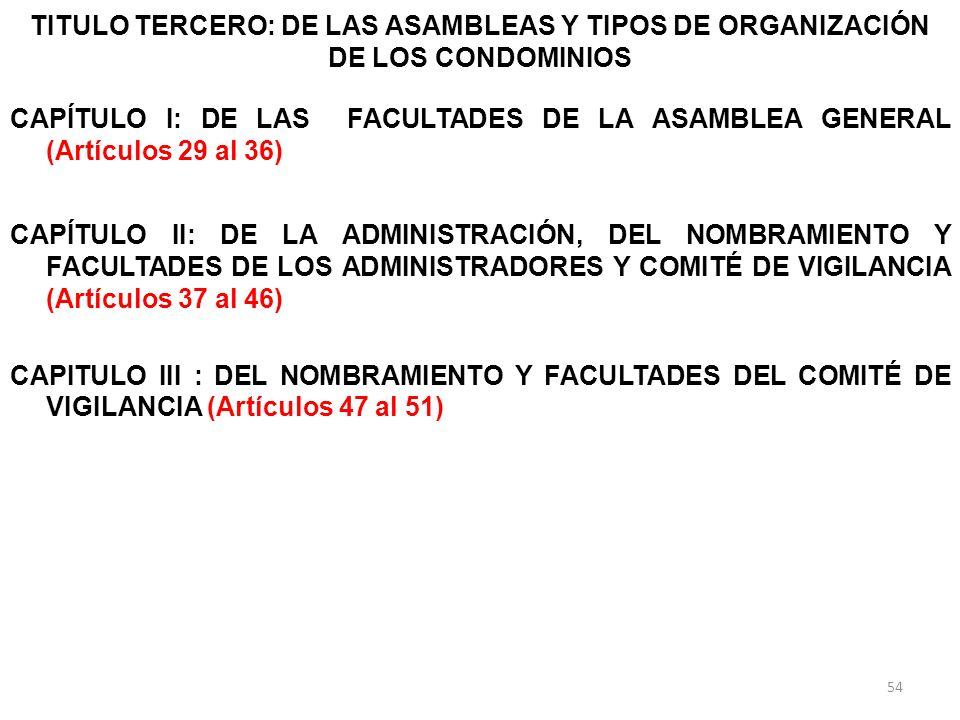 TITULO TERCERO: DE LAS ASAMBLEAS Y TIPOS DE ORGANIZACIÓN DE LOS CONDOMINIOS CAPÍTULO I: DE LAS FACULTADES DE LA ASAMBLEA GENERAL (Artículos 29 al 36)