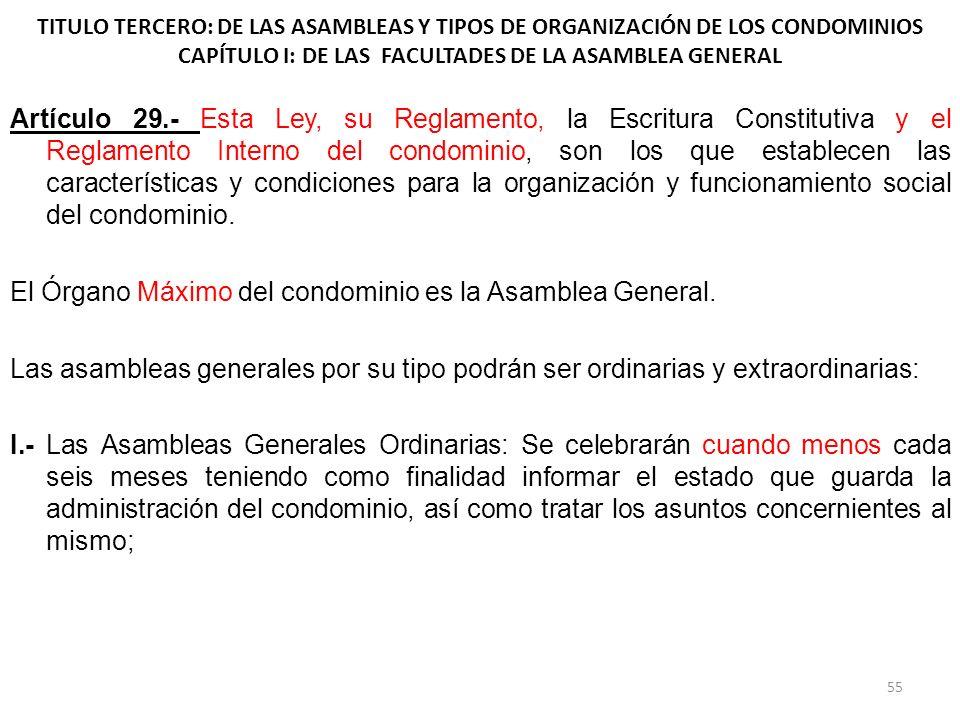 TITULO TERCERO: DE LAS ASAMBLEAS Y TIPOS DE ORGANIZACIÓN DE LOS CONDOMINIOS CAPÍTULO I: DE LAS FACULTADES DE LA ASAMBLEA GENERAL Artículo 29.- Esta Le