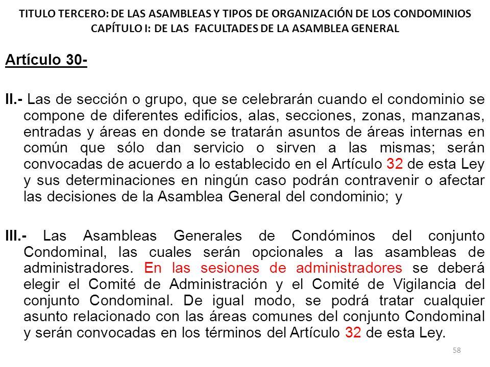 TITULO TERCERO: DE LAS ASAMBLEAS Y TIPOS DE ORGANIZACIÓN DE LOS CONDOMINIOS CAPÍTULO I: DE LAS FACULTADES DE LA ASAMBLEA GENERAL Artículo 30- II.- Las