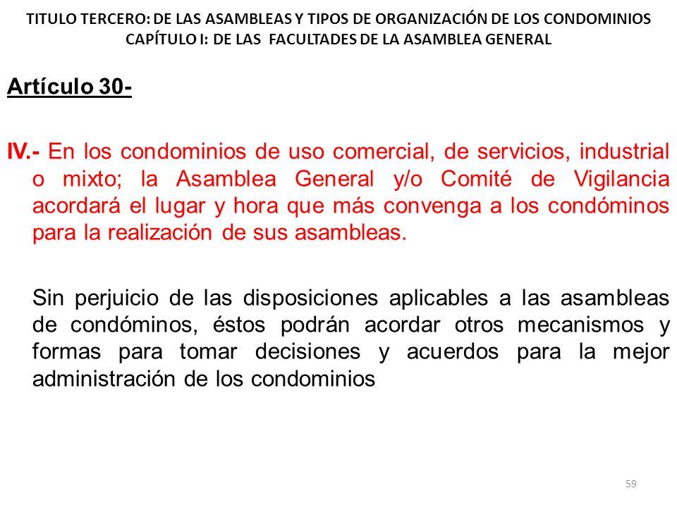 TITULO TERCERO: DE LAS ASAMBLEAS Y TIPOS DE ORGANIZACIÓN DE LOS CONDOMINIOS CAPÍTULO I: DE LAS FACULTADES DE LA ASAMBLEA GENERAL Artículo 30- IV.- En