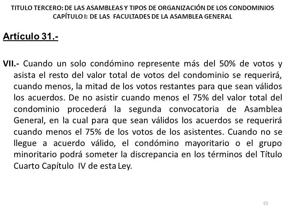 TITULO TERCERO: DE LAS ASAMBLEAS Y TIPOS DE ORGANIZACIÓN DE LOS CONDOMINIOS CAPÍTULO I: DE LAS FACULTADES DE LA ASAMBLEA GENERAL Artículo 31.- VII.- C