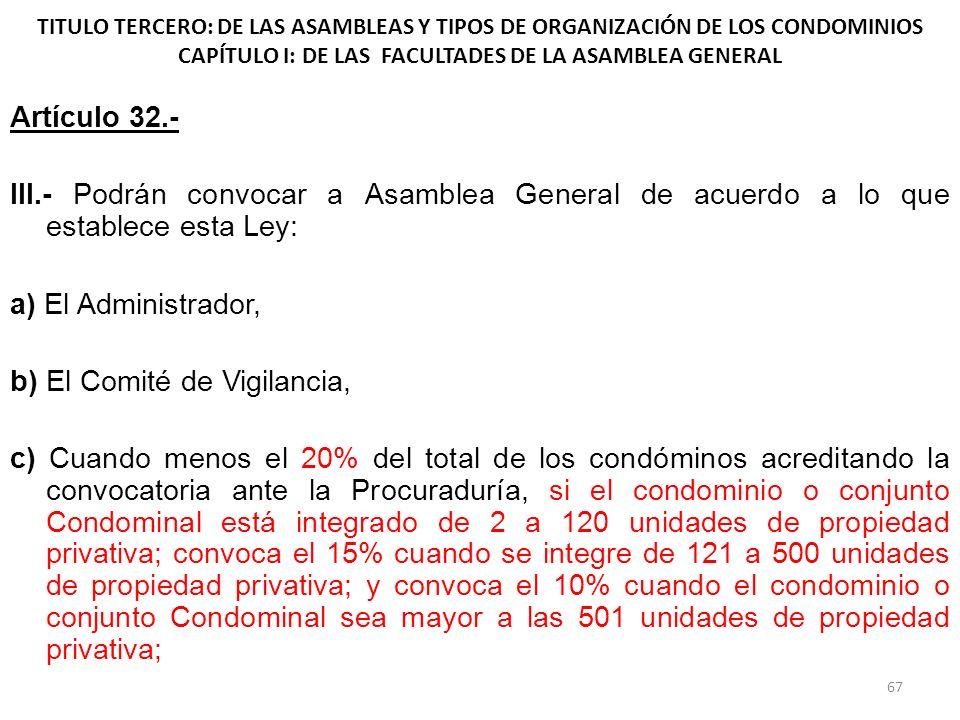 TITULO TERCERO: DE LAS ASAMBLEAS Y TIPOS DE ORGANIZACIÓN DE LOS CONDOMINIOS CAPÍTULO I: DE LAS FACULTADES DE LA ASAMBLEA GENERAL Artículo 32.- III.- P