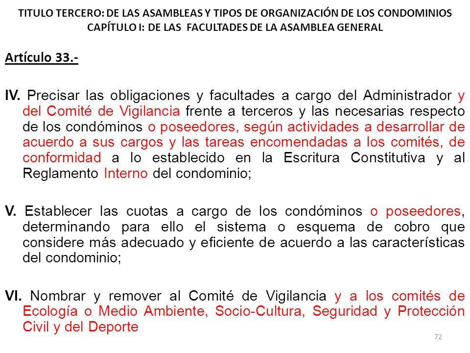 TITULO TERCERO: DE LAS ASAMBLEAS Y TIPOS DE ORGANIZACIÓN DE LOS CONDOMINIOS CAPÍTULO I: DE LAS FACULTADES DE LA ASAMBLEA GENERAL Artículo 33.- IV. Pre