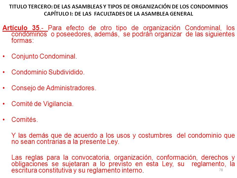 TITULO TERCERO: DE LAS ASAMBLEAS Y TIPOS DE ORGANIZACIÓN DE LOS CONDOMINIOS CAPÍTULO I: DE LAS FACULTADES DE LA ASAMBLEA GENERAL Artículo 35.- Para ef