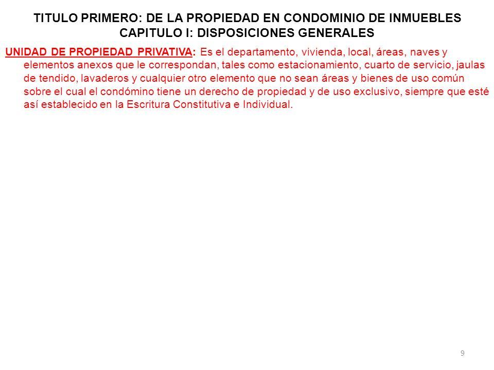 TITULO PRIMERO: DE LA PROPIEDAD EN CONDOMINIO DE INMUEBLES CAPITULO I: DISPOSICIONES GENERALES UNIDAD DE PROPIEDAD PRIVATIVA: Es el departamento, vivi