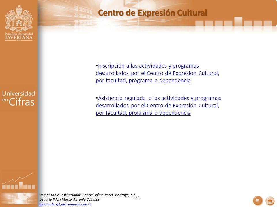 Centro de Expresión Cultural Inscripción a las actividades y programas desarrollados por el Centro de Expresión Cultural, por facultad, programa o dep