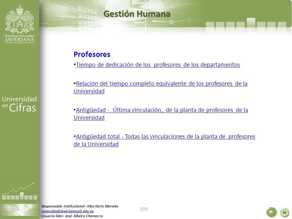 Gestión Humana Profesores Tiempo de dedicación de los profesores de los departamentos Relación del tiempo completo equivalente de los profesores de la