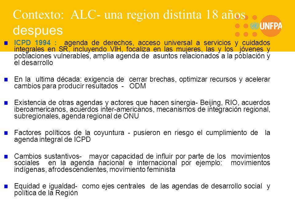 Contexto: ALC- una region distinta 18 años despues ICPD 1994 : agenda de derechos, acceso universal a servicios y cuidados integrales en SR, incluyend