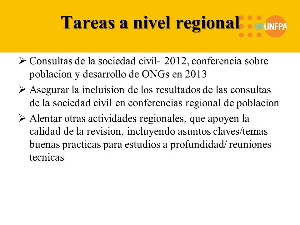 Tareas a nivel regional Consultas de la sociedad civil- 2012, conferencia sobre poblacion y desarrollo de ONGs en 2013 Asegurar la incluision de los r