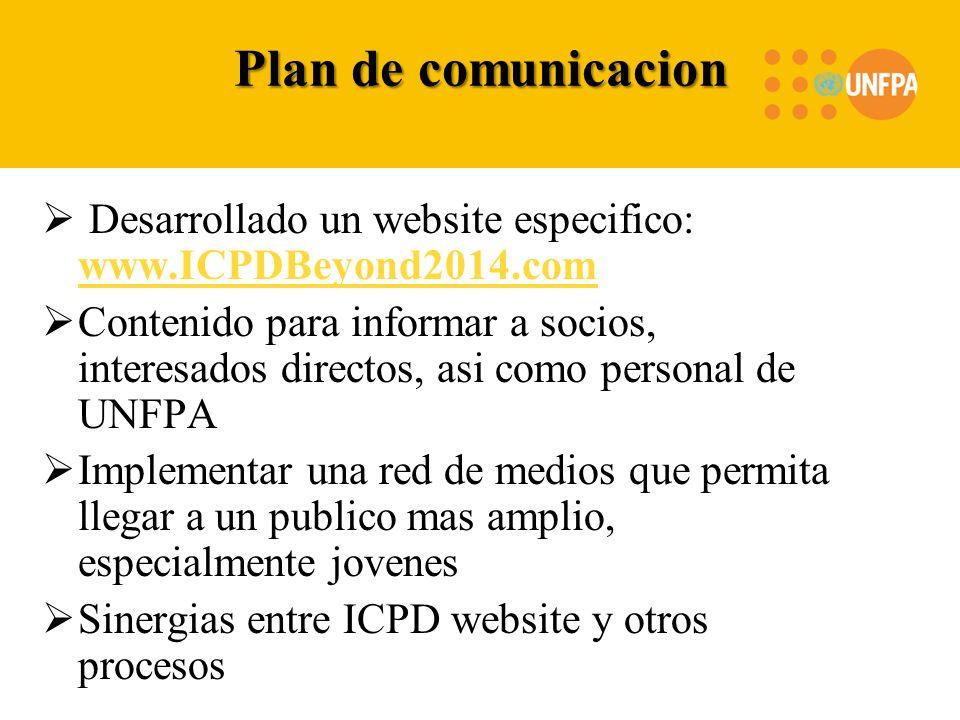 Plan de comunicacion Desarrollado un website especifico: www.ICPDBeyond2014.com www.ICPDBeyond2014.com Contenido para informar a socios, interesados d