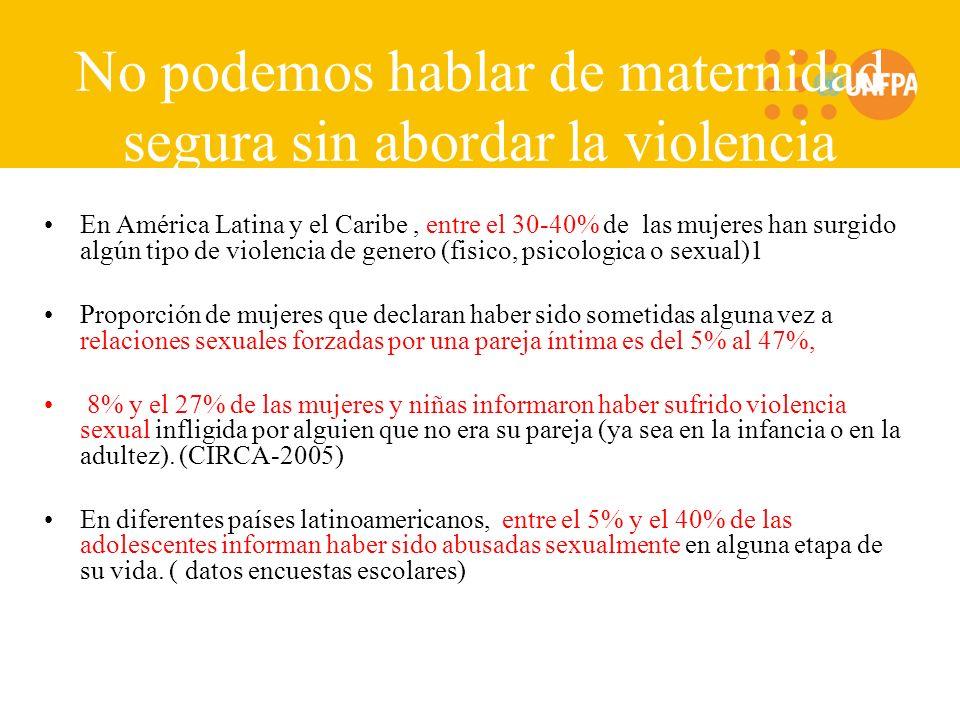 No podemos hablar de maternidad segura sin abordar la violencia (sexual) en ALC En América Latina y el Caribe, entre el 30-40% de las mujeres han surgido algún tipo de violencia de genero (fisico, psicologica o sexual)1 Proporción de mujeres que declaran haber sido sometidas alguna vez a relaciones sexuales forzadas por una pareja íntima es del 5% al 47%, 8% y el 27% de las mujeres y niñas informaron haber sufrido violencia sexual infligida por alguien que no era su pareja (ya sea en la infancia o en la adultez).