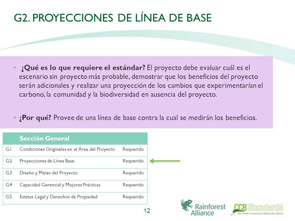 G2. PROYECCIONES DE LÍNEA DE BASE ¿Qué es lo que requiere el estándar.