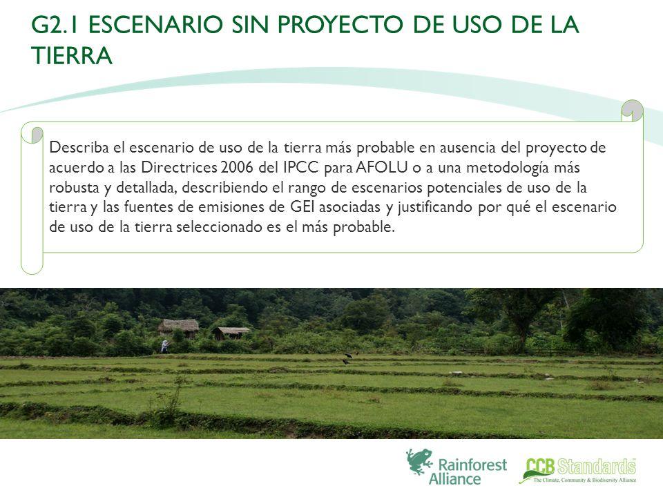 Describa el escenario de uso de la tierra más probable en ausencia del proyecto de acuerdo a las Directrices 2006 del IPCC para AFOLU o a una metodología más robusta y detallada, describiendo el rango de escenarios potenciales de uso de la tierra y las fuentes de emisiones de GEI asociadas y justificando por qué el escenario de uso de la tierra seleccionado es el más probable.