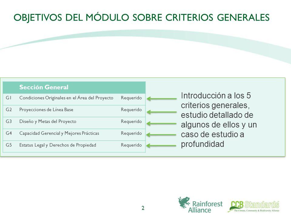 OBJETIVOS DEL MÓDULO SOBRE CRITERIOS GENERALES 2 Introducción a los 5 criterios generales, estudio detallado de algunos de ellos y un caso de estudio a profundidad Sección General G1Condiciones Originales en el Área del ProyectoRequerido G2Proyecciones de Línea BaseRequerido G3Diseño y Metas del ProyectoRequerido G4Capacidad Gerencial y Mejores PrácticasRequerido G5Estatus Legal y Derechos de PropiedadRequerido