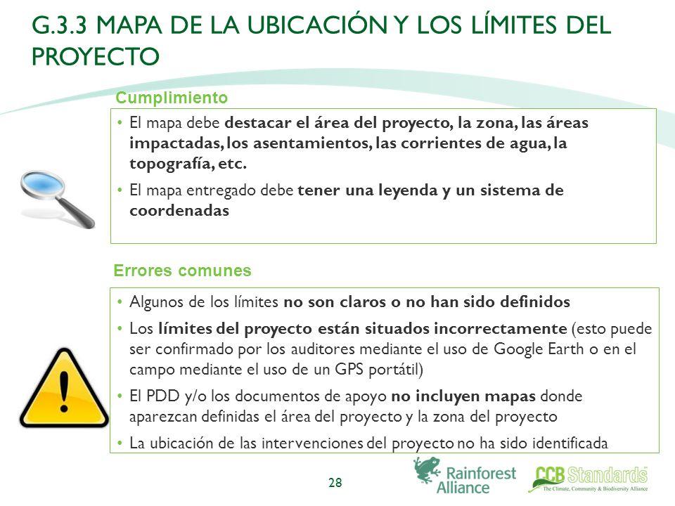 El mapa debe destacar el área del proyecto, la zona, las áreas impactadas, los asentamientos, las corrientes de agua, la topografía, etc.