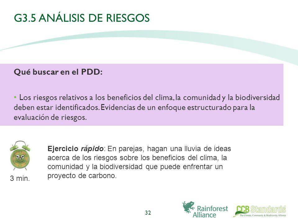 G3.5 ANÁLISIS DE RIESGOS Qué buscar en el PDD: Los riesgos relativos a los beneficios del clima, la comunidad y la biodiversidad deben estar identificados.